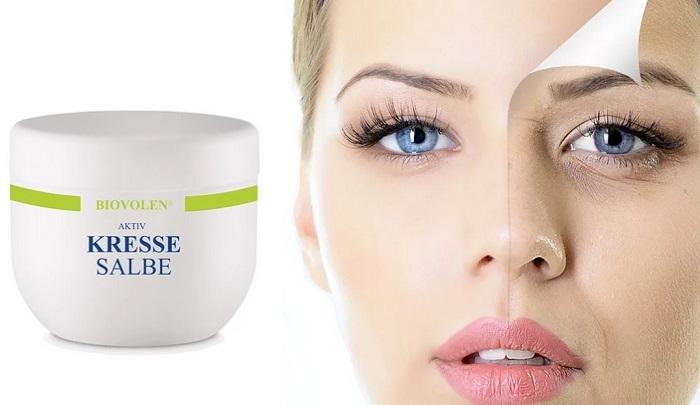 Kressesalbe Biovolen Falten: macht die Haut Ihres Gesichts elastisch und samtig!